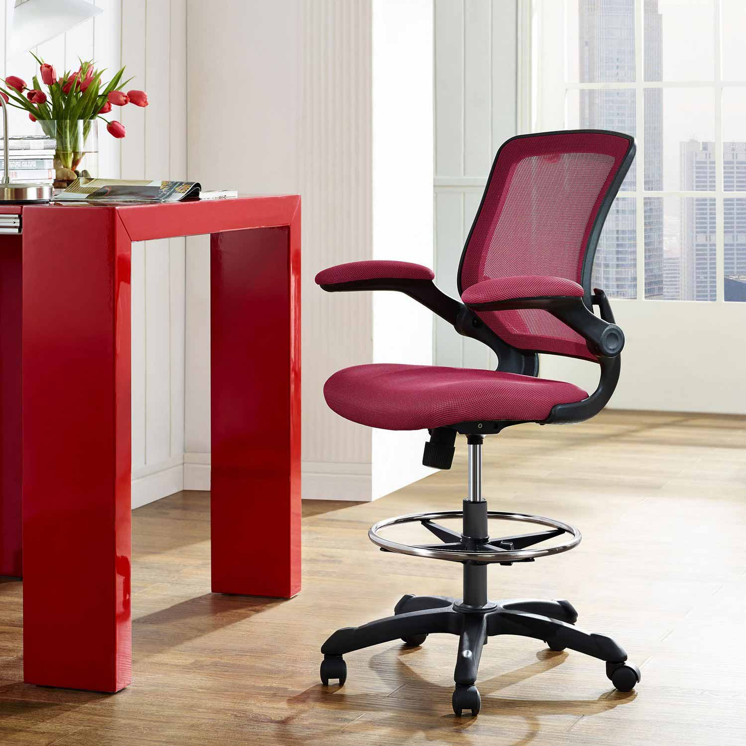 Modway Veer Drafting Stool Red Mw Eei 1423 Red At