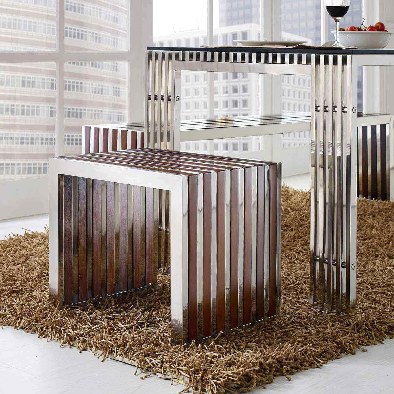 Modway Gridiron Small Wood Inlay Bench - Walnut