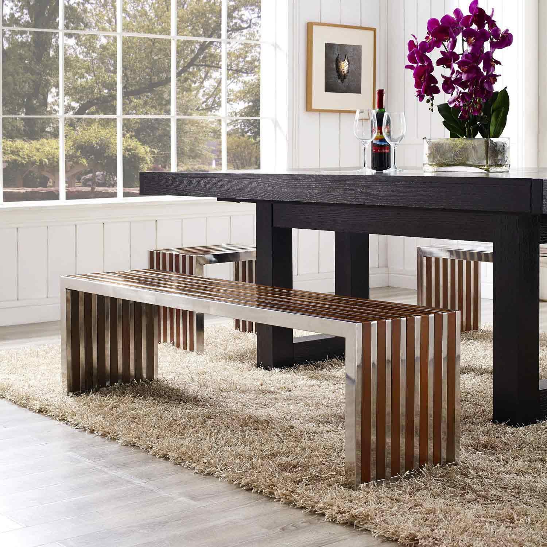 Modway Gridiron Large Wood Inlay Bench - Walnut