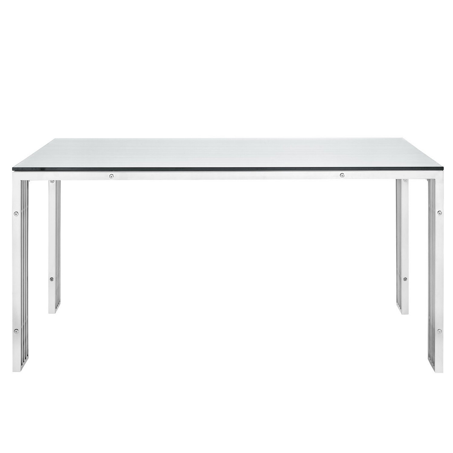 Modway Gridiron Stainless Steel Dining Table - Silver