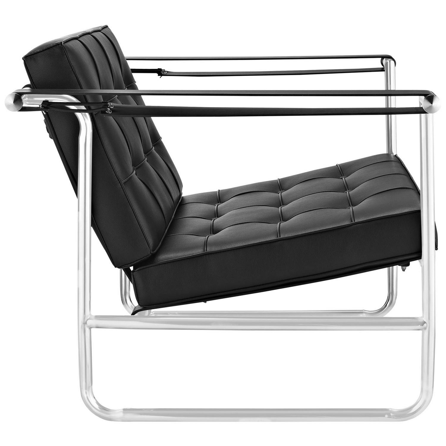 Modway Serene Stainless Steel Lounge Chair - Black