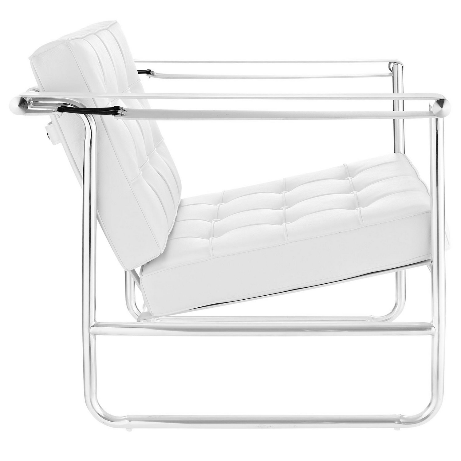 Modway Serene Stainless Steel Lounge Chair - White
