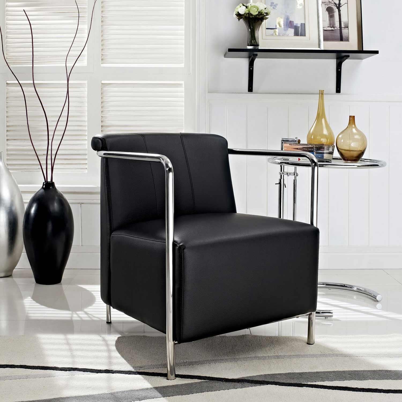 Modway Ebb Vinyl Lounge Chair - Black