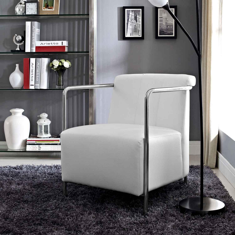 Modway Ebb Vinyl Lounge Chair - White