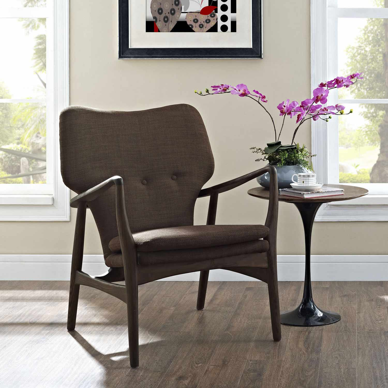 Modway Heed Lounge Chair - Walnut Brown