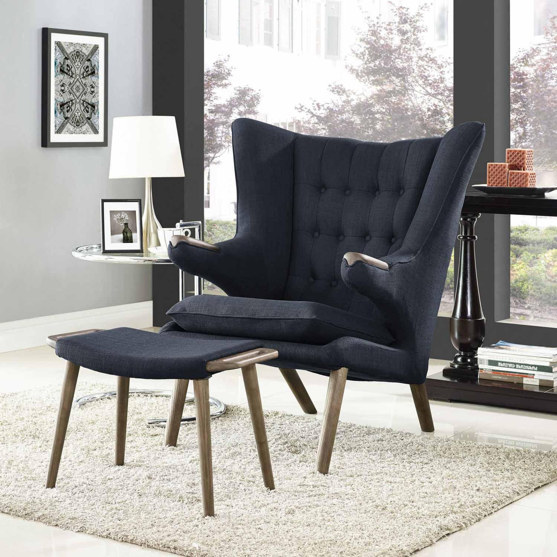 Modway Bear Lounge Chair and Ottoman - Walnut Black