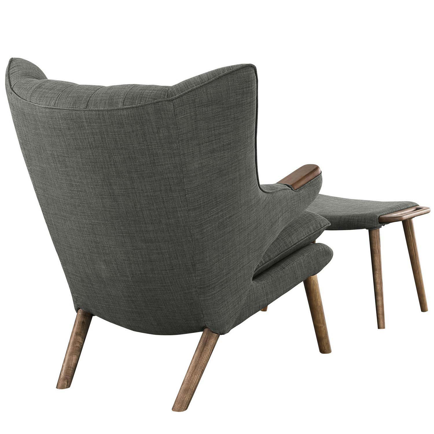 Modway Bear Lounge Chair and Ottoman - Walnut Gray