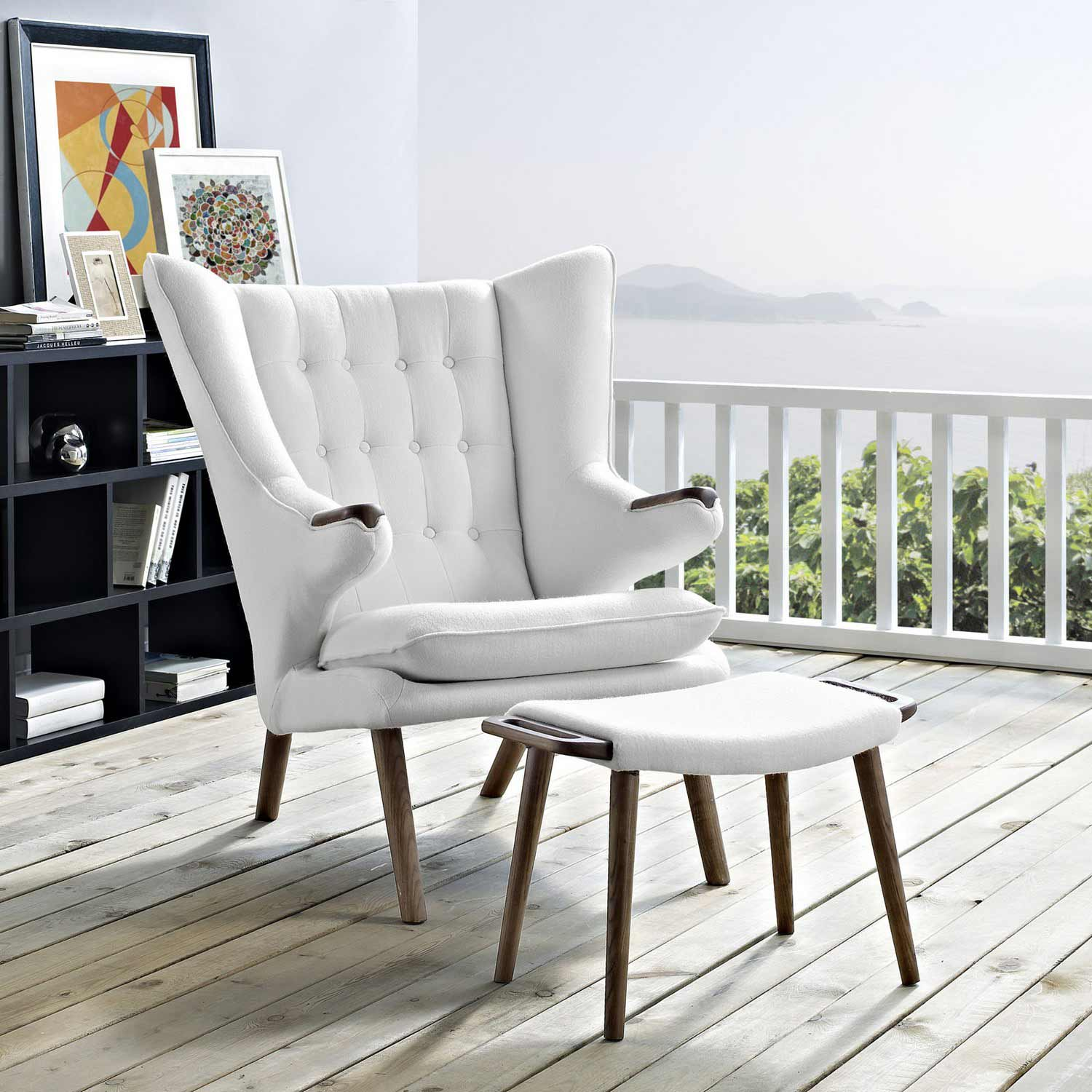 Modway Bear Lounge Chair and Ottoman - Walnut White