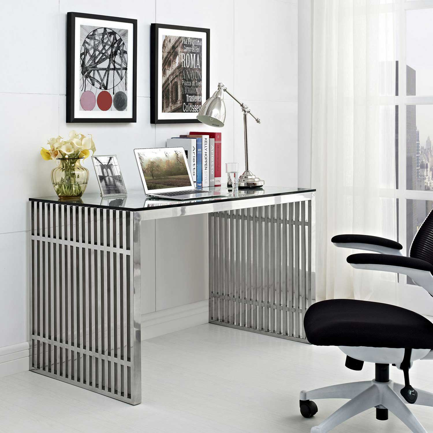 Modway Gridiron Stainless Steel Office Desk - Silver