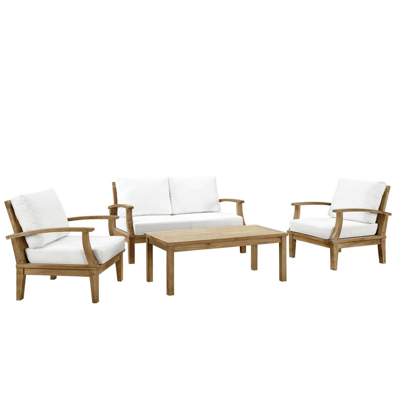 Modway Marina 4 Piece Outdoor Patio Teak Sofa Set - Natural White