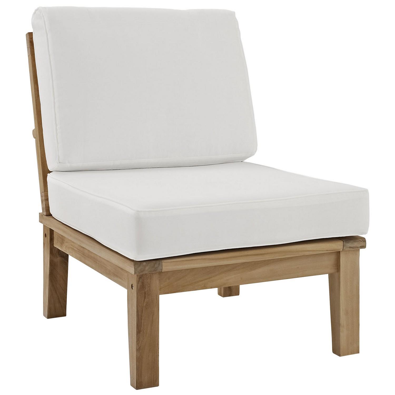 Modway Marina 5 Piece Outdoor Patio Teak Sofa Set - Natural White