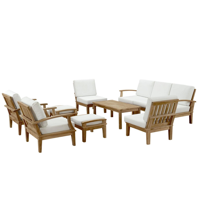 Modway Marina 10 Piece Outdoor Patio Teak Sofa Set - Natural White