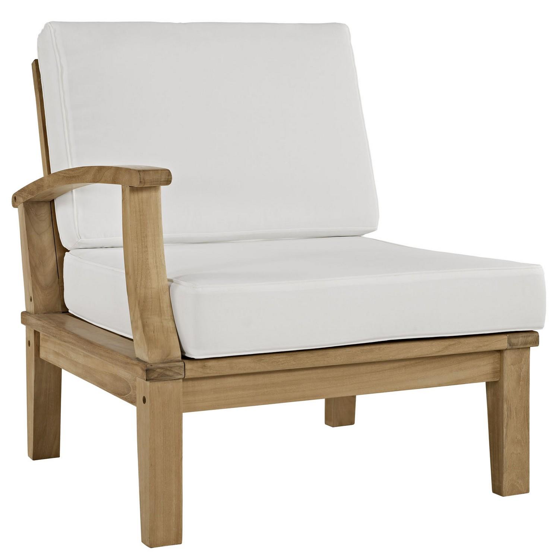 Modway Marina 9 Piece Outdoor Patio Teak Sofa Set - Natural White