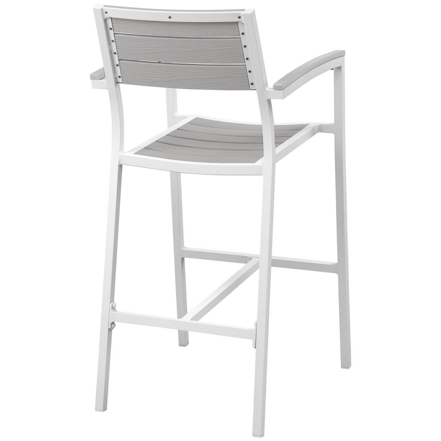 Modway Maine Outdoor Patio Bar Stool - White/Light Gray