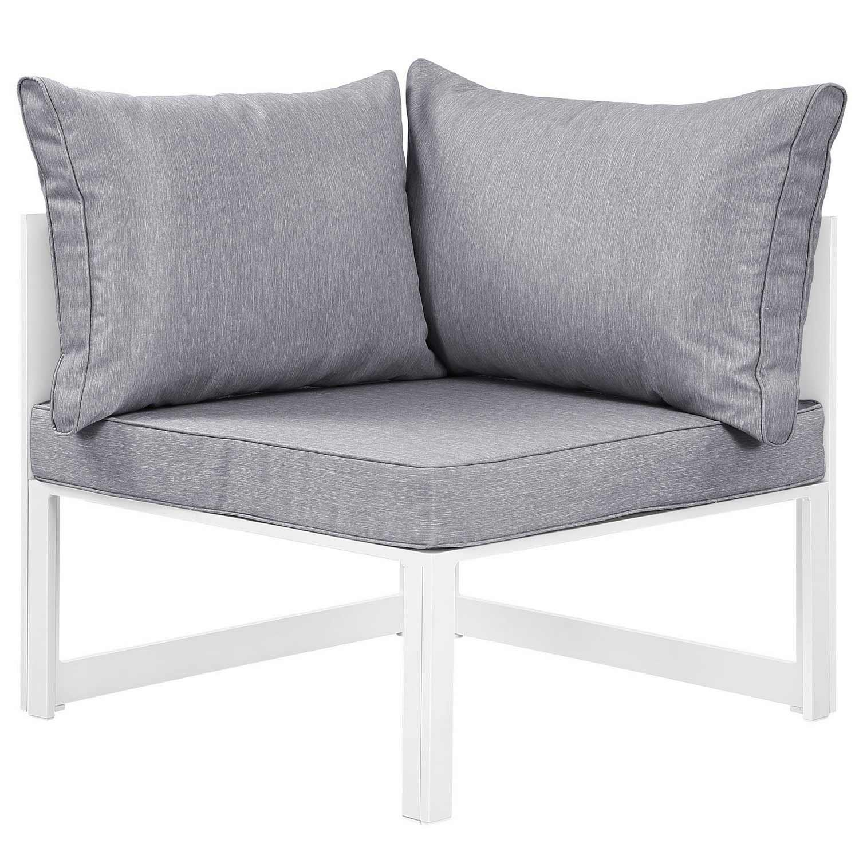 Modway Fortuna Corner Outdoor Patio Armchair - White/Gray