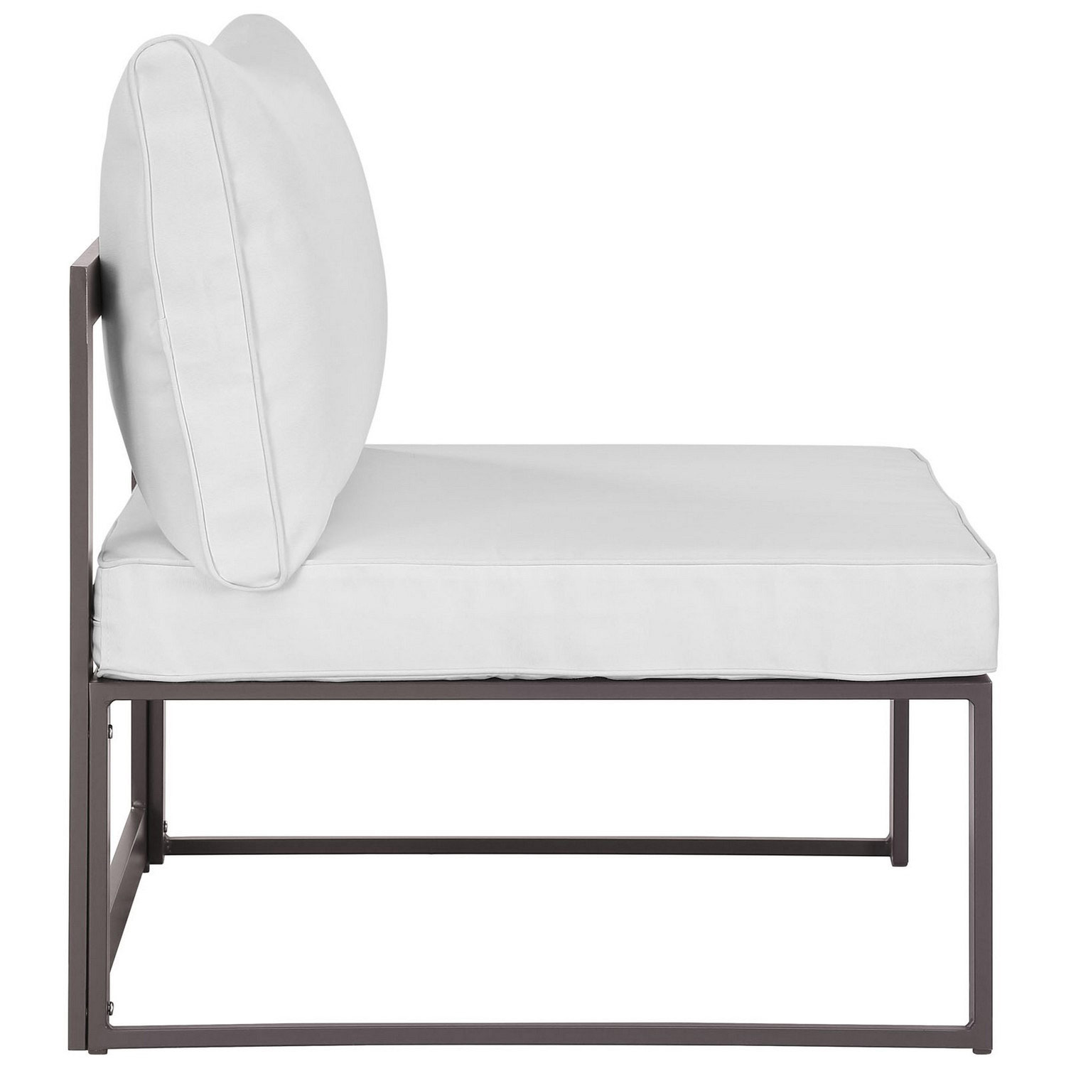 Modway Fortuna Armless Outdoor Patio Sofa - Brown/White