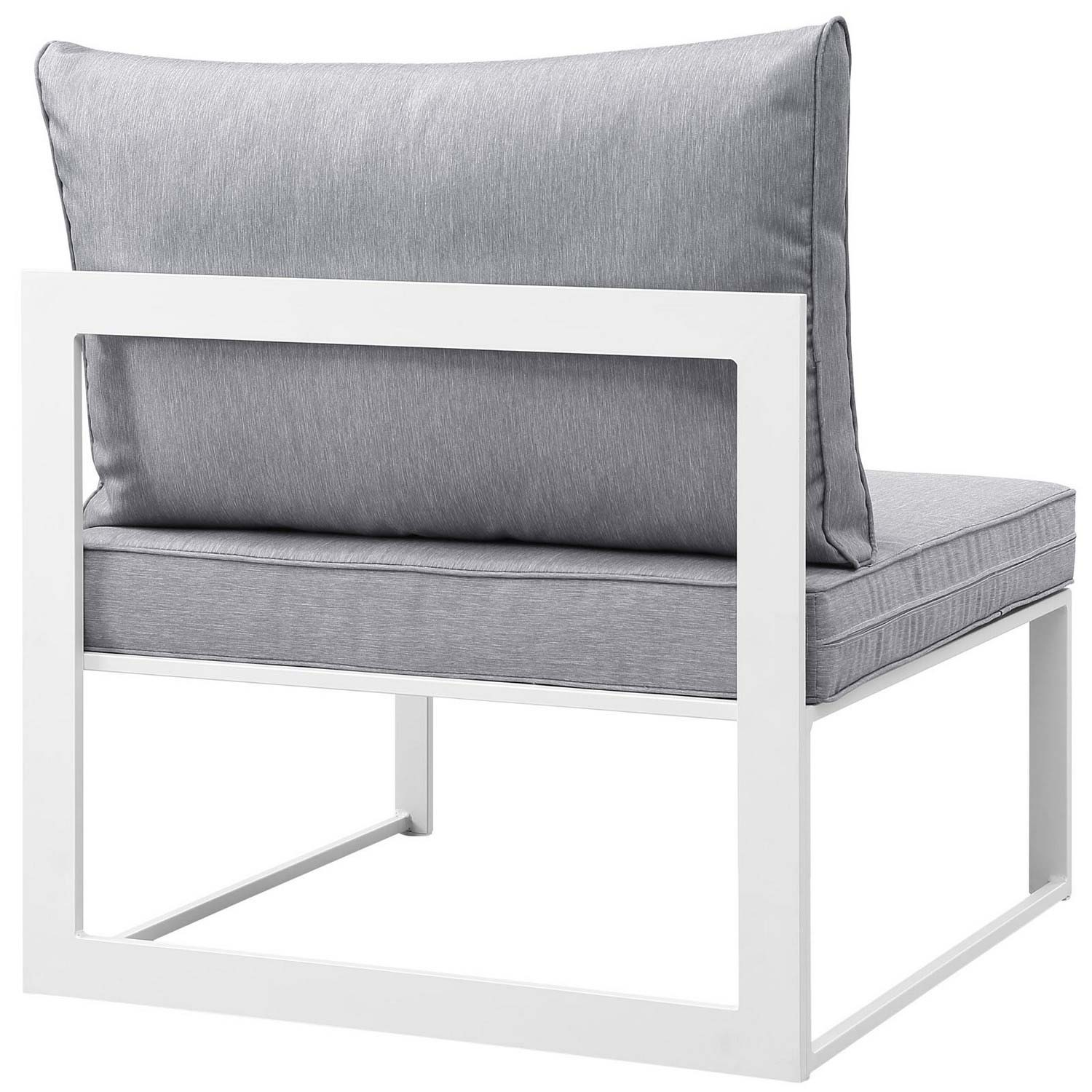 Modway Fortuna Armless Outdoor Patio Sofa - White/Gray