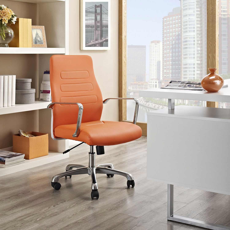 Modway Depict Mid Back Aluminum Office Chair - Orange