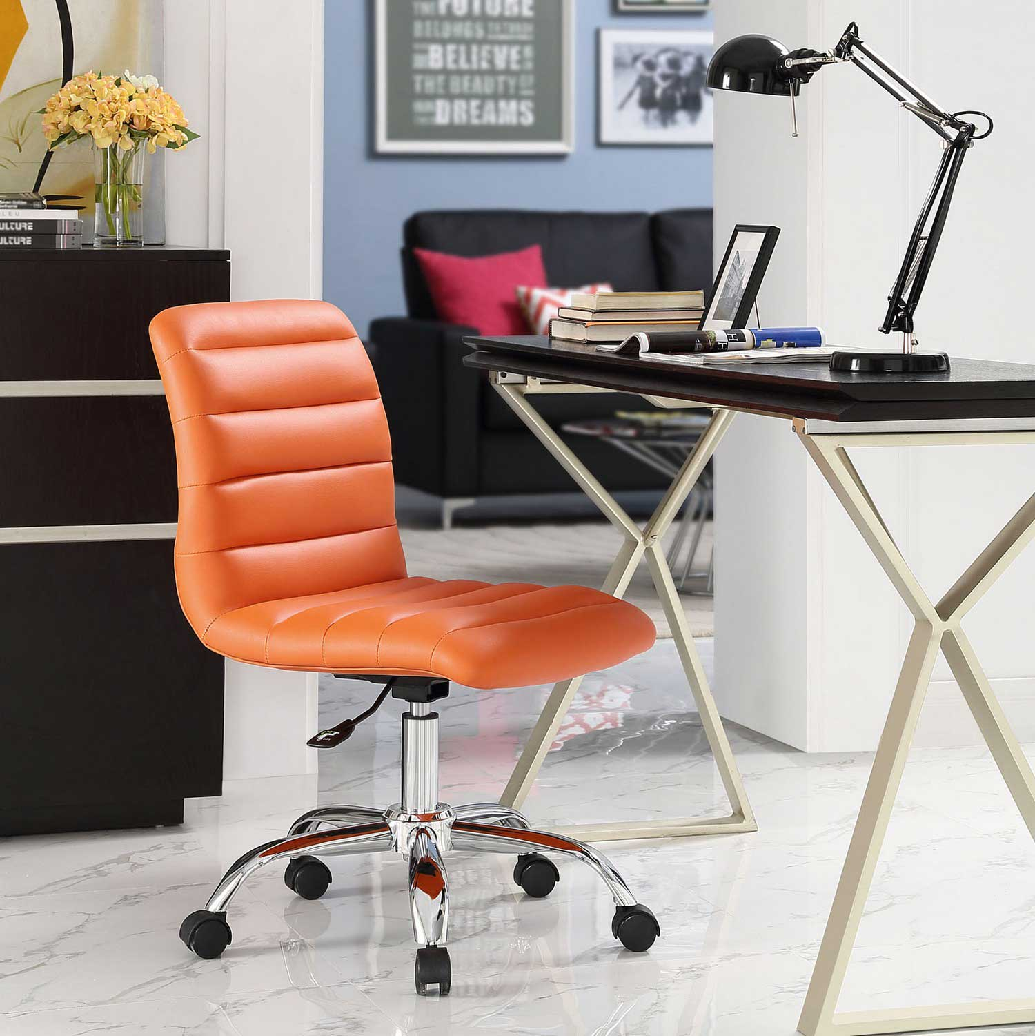 Modway Ripple Armless Mid Back Office Chair - Orange