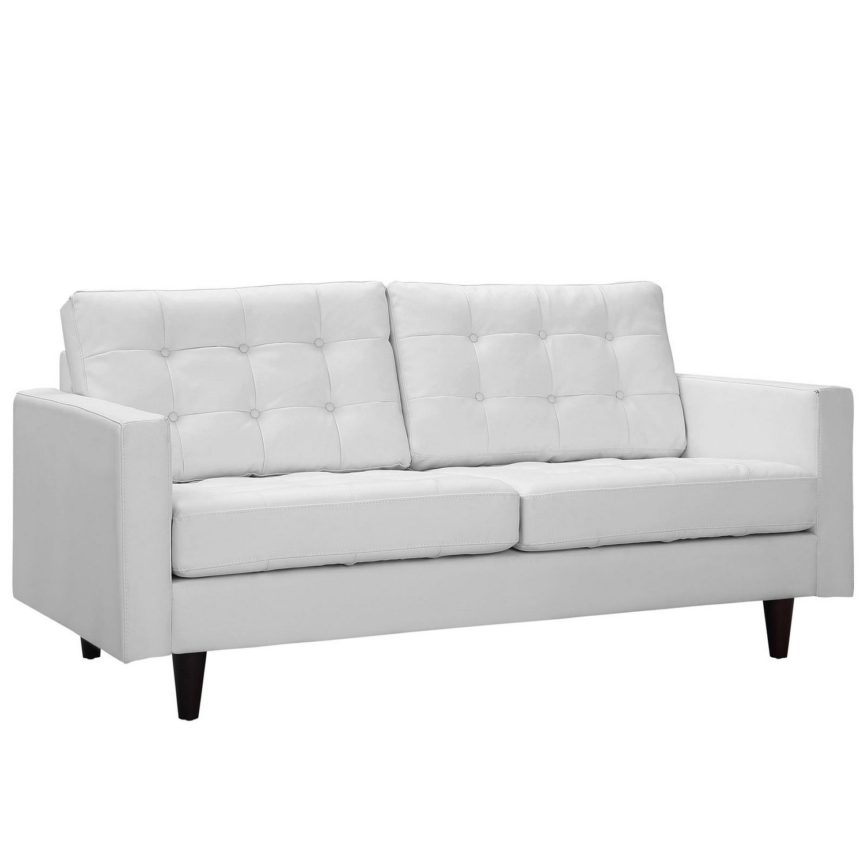 Modway Empress Bonded Leather Loveseat - White