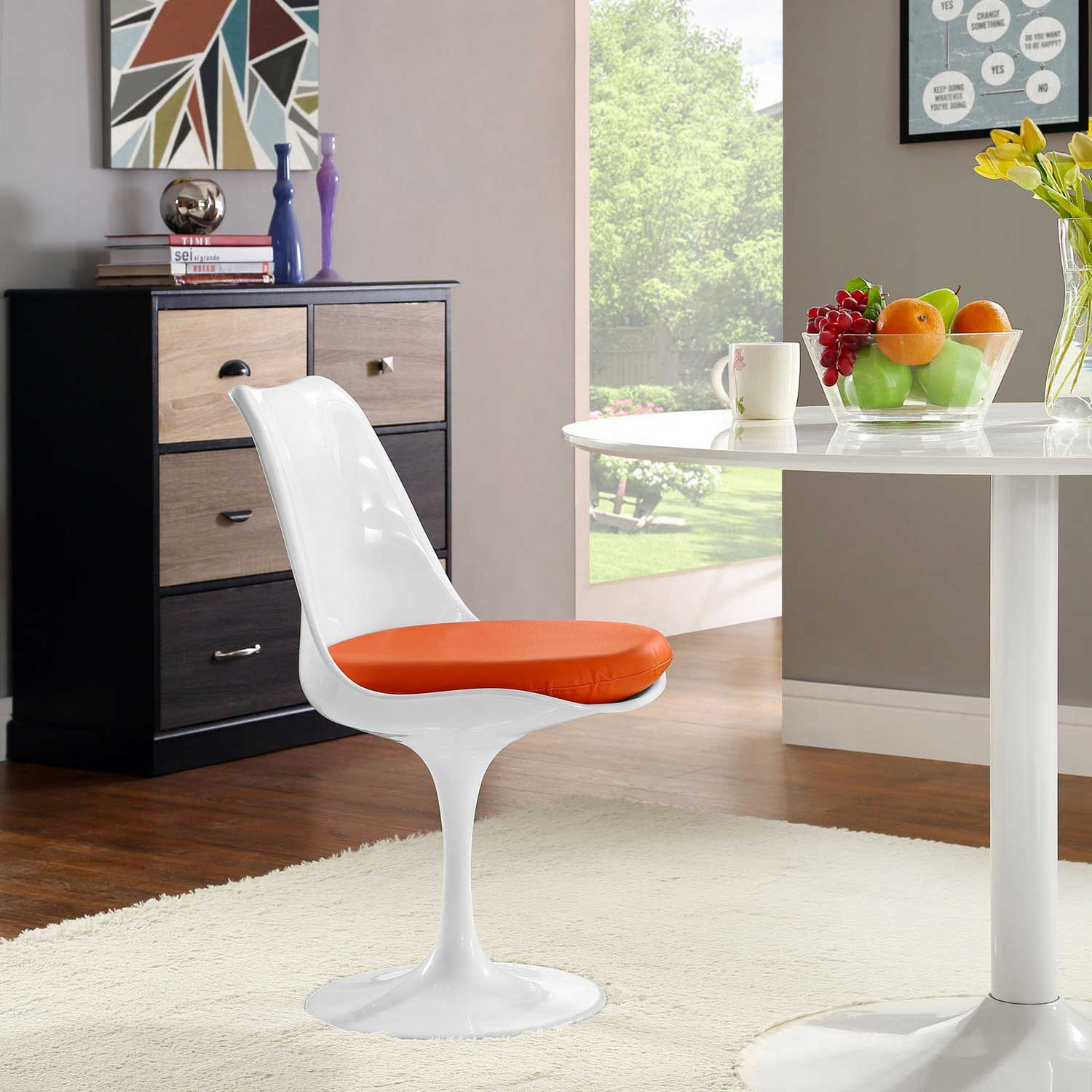 Modway Lippa Dining Vinyl Side Chair - Orange