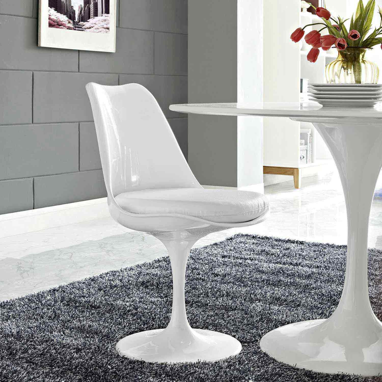 Modway Lippa Dining Vinyl Side Chair - White