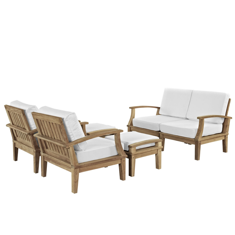 Modway Marina 6 Piece Outdoor Patio Teak Sofa Set - Natural White