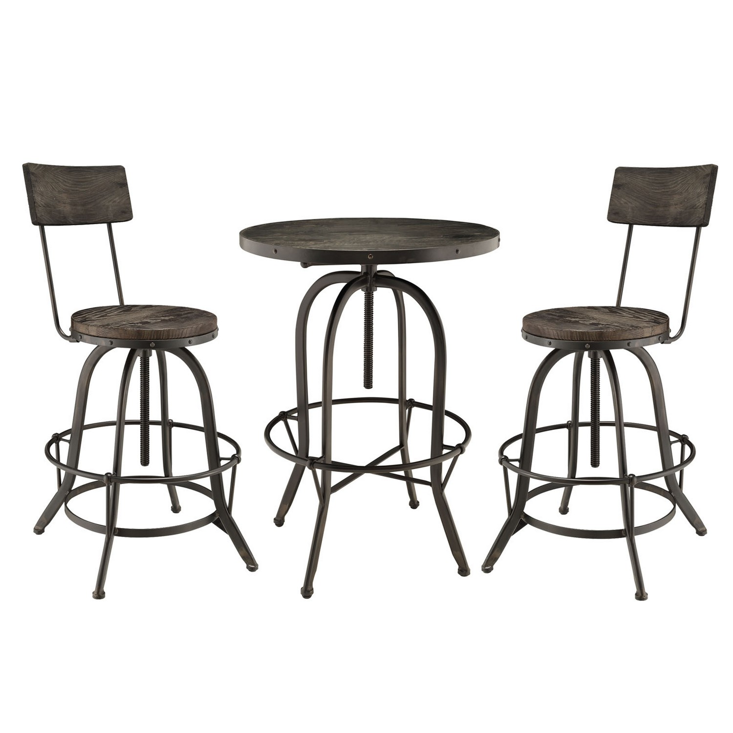 Modway Gather 5 Piece Dining Set with Bar Stool - Black