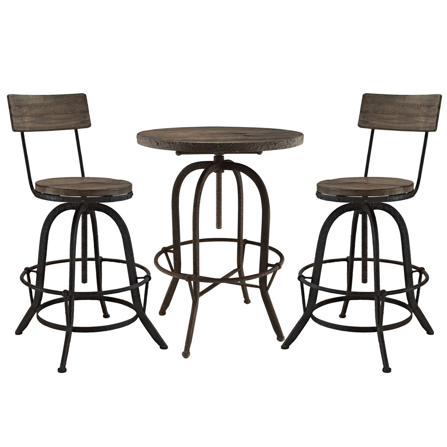 Modway Gather 5 Piece Dining Set with Bar Stool - Brown