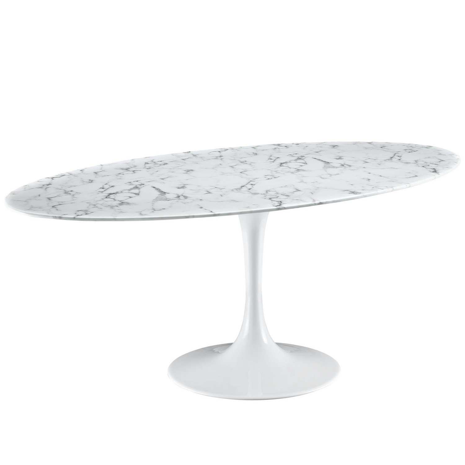 Modway Lippa 78 Artificial Marble Dining Table - White