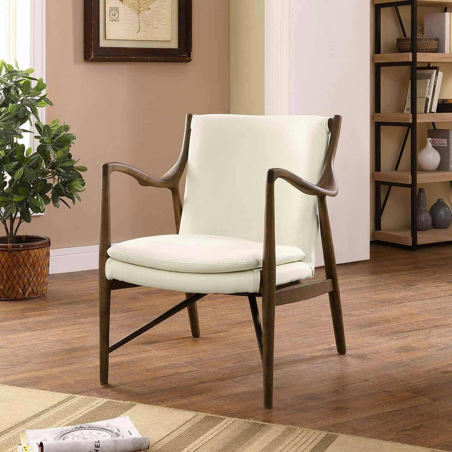 Modway Makeshift Leather Lounge Chair - Walnut Cream