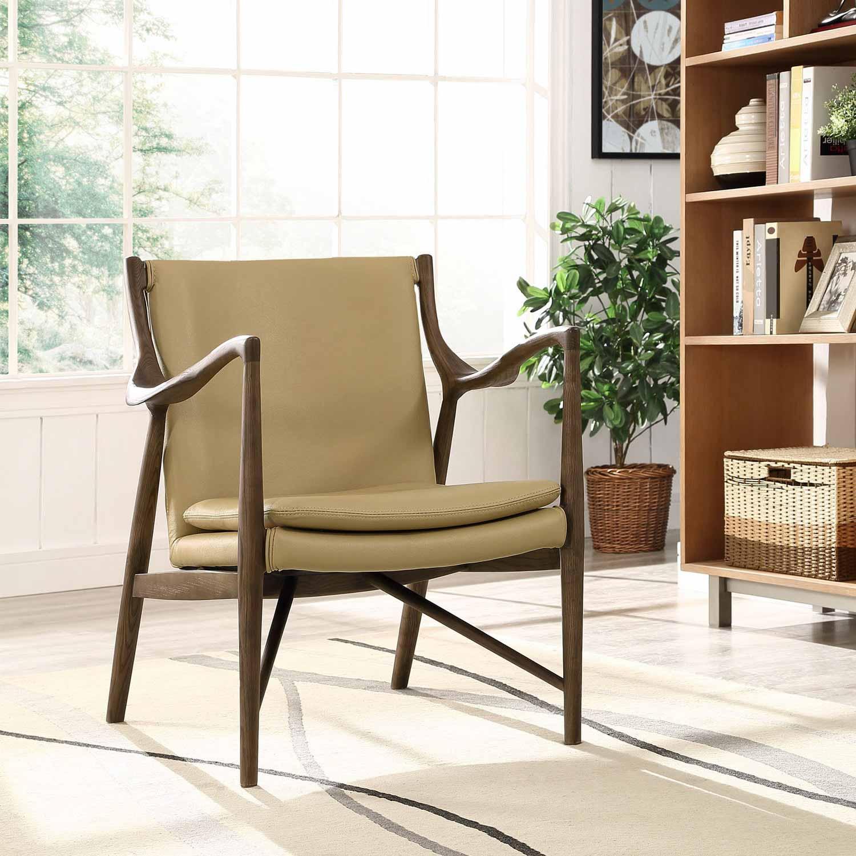 Modway Makeshift Leather Lounge Chair - Walnut Tan