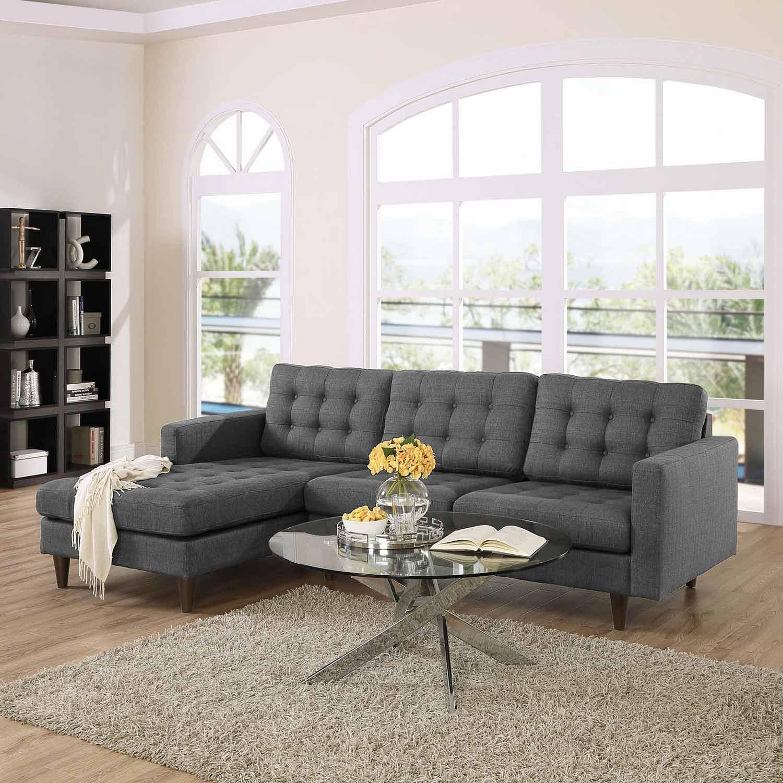 Modway Empress Left-Arm Sectional Sofa - Gray