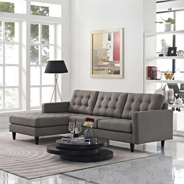 Modway Empress Left-Arm Sectional Sofa - Granite
