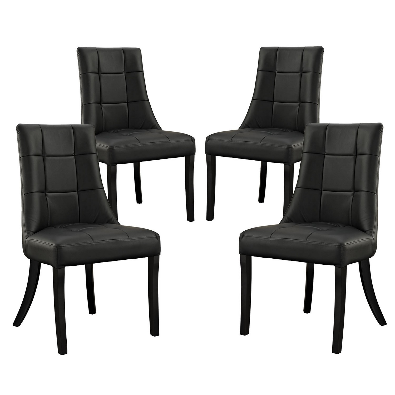Modway Noblesse Vinyl Dining Chair Set of 4 - Black