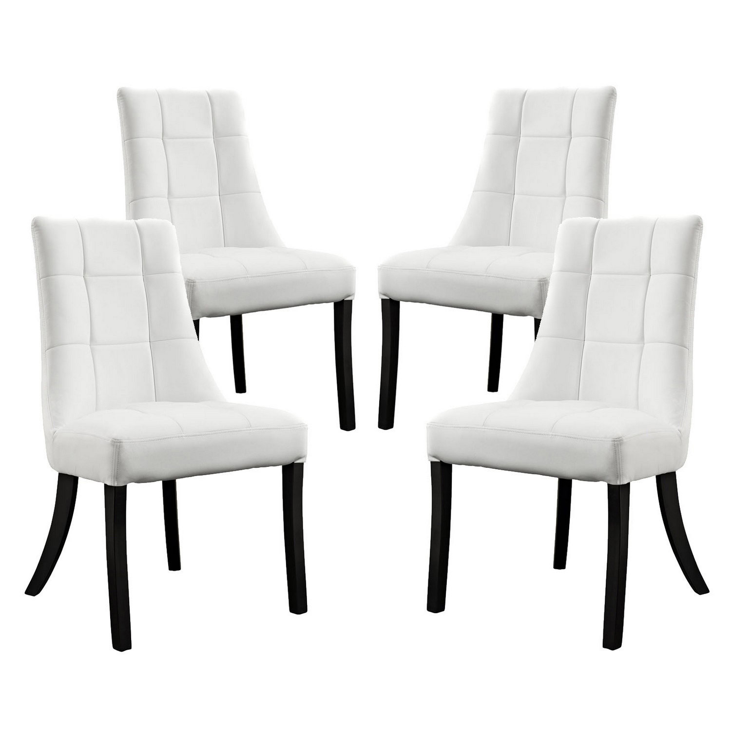 Modway Noblesse Vinyl Dining Chair Set of 4 - White