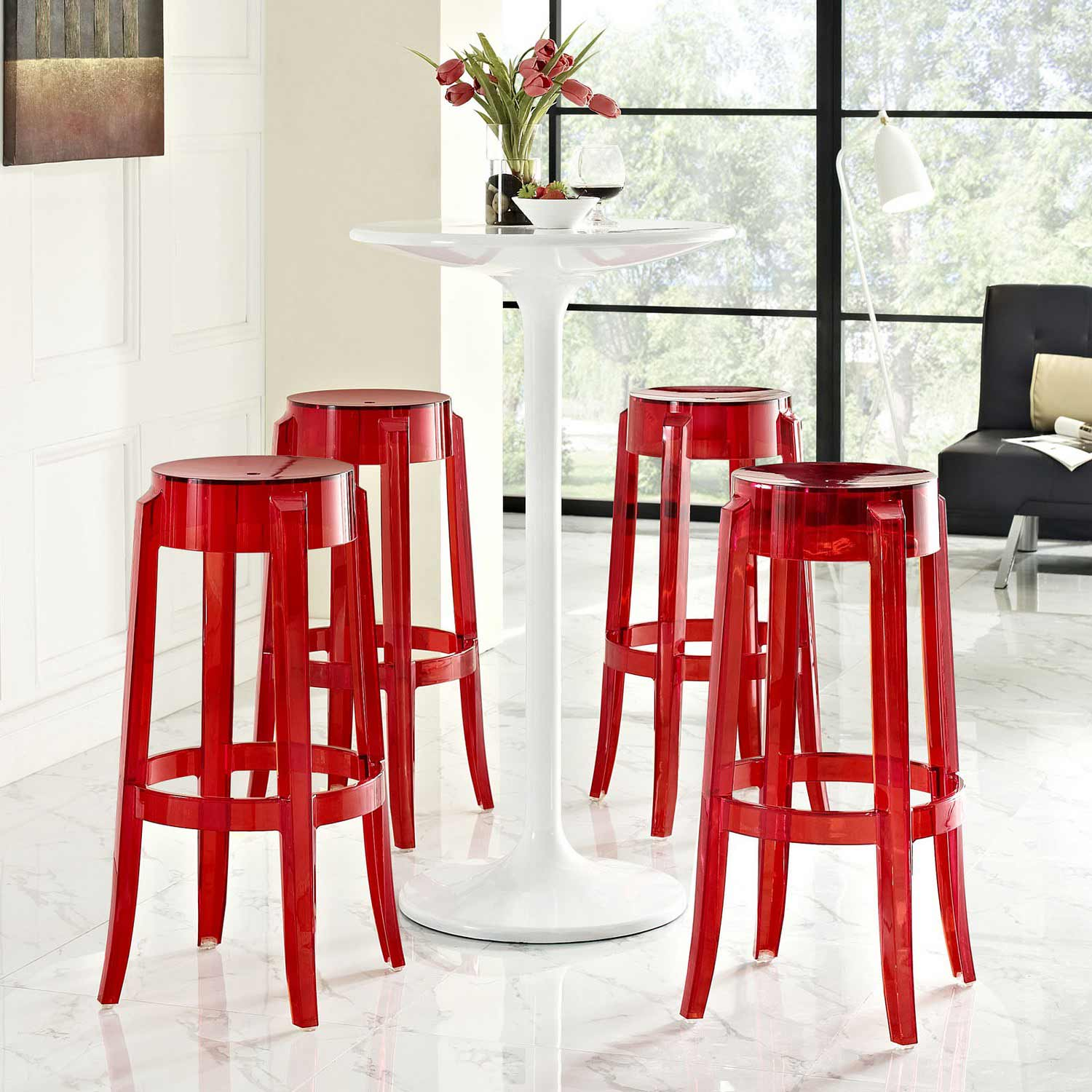 Modway Casper Bar Stool Set Of 4 Red Mw Eei 1680 Red At