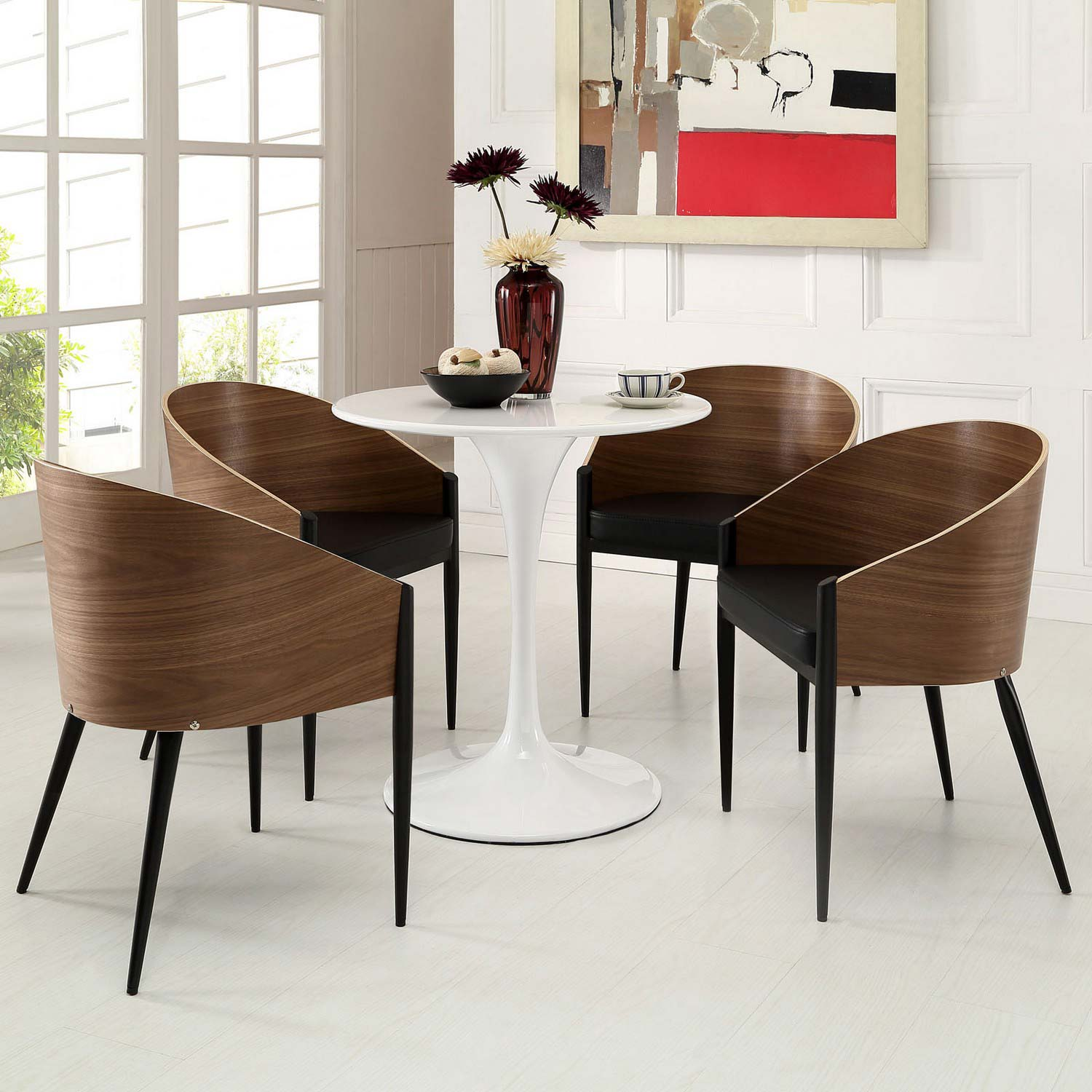 Modway Cooper Dining Chairs Set of 4 - Walnut