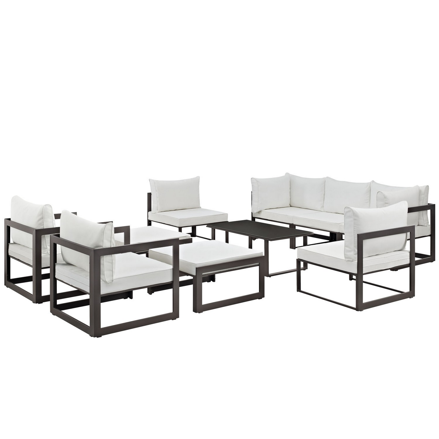 Modway Fortuna 10 Piece Outdoor Patio Sectional Sofa Set - Brown/White