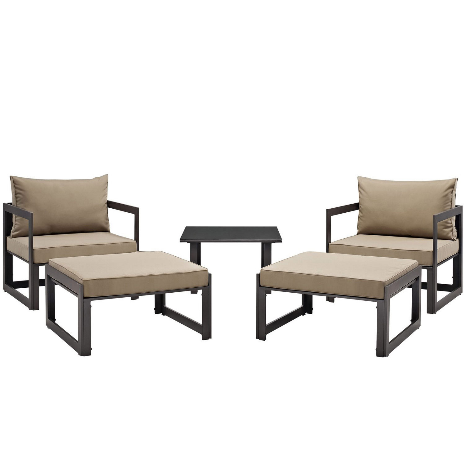 Modway Fortuna 5 Piece Outdoor Patio Sectional Sofa Set - Brown/Mocha