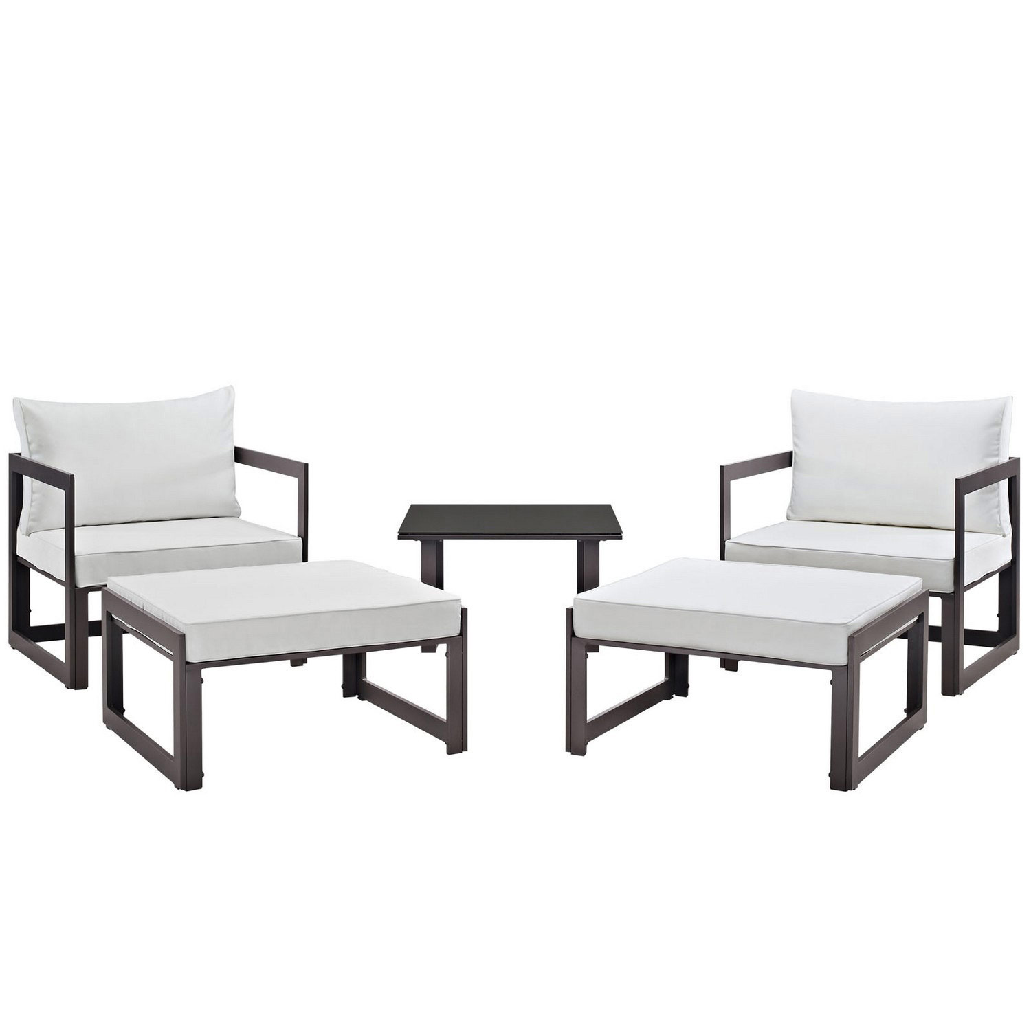 Modway Fortuna 5 Piece Outdoor Patio Sectional Sofa Set - Brown/White