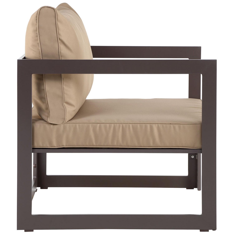 Modway Fortuna 3 Piece Outdoor Patio Sectional Sofa Set - Brown/Mocha