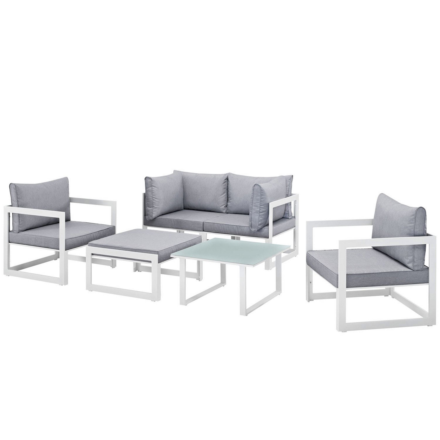Modway Fortuna 6 Piece Outdoor Patio Sectional Sofa Set - White/Gray