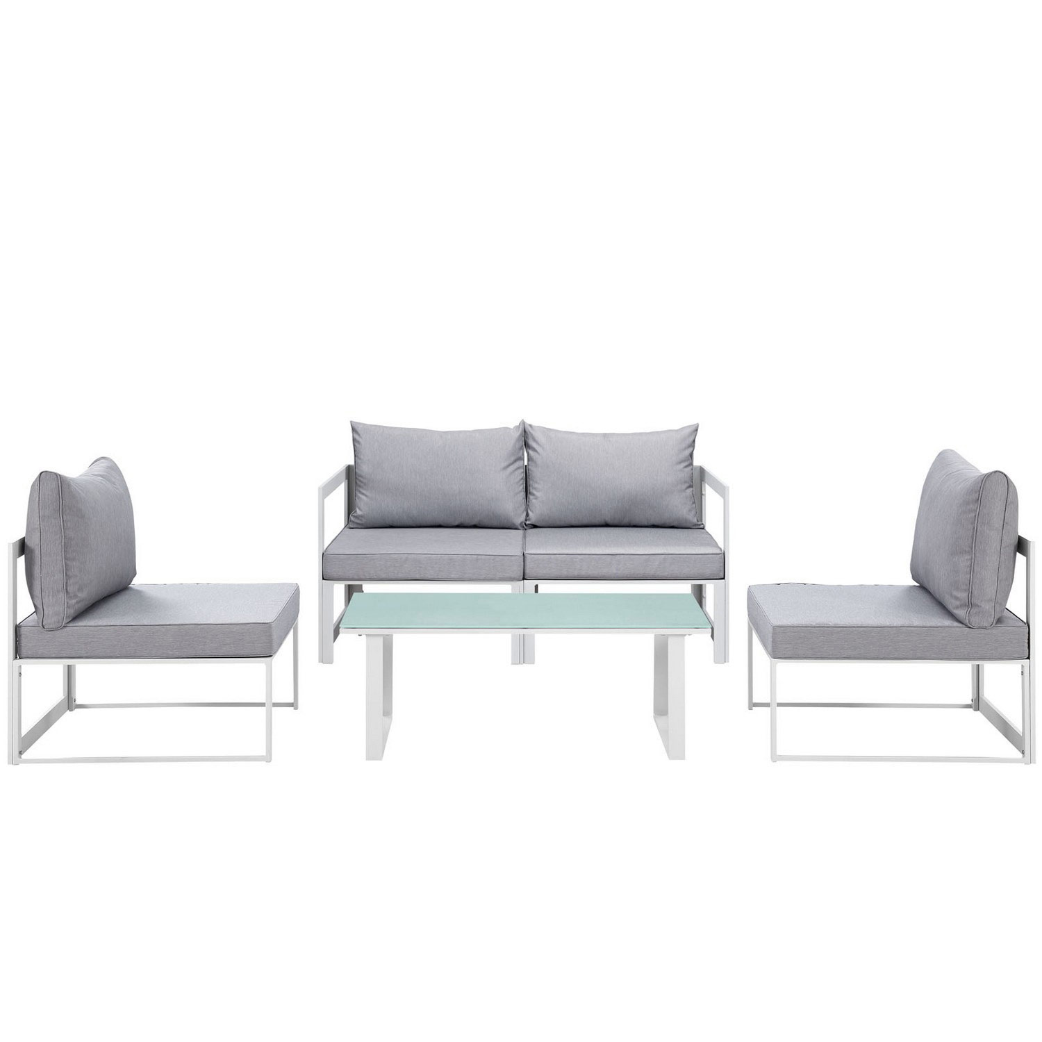 Modway Fortuna 5 Piece Outdoor Patio Sectional Sofa Set - White/Gray