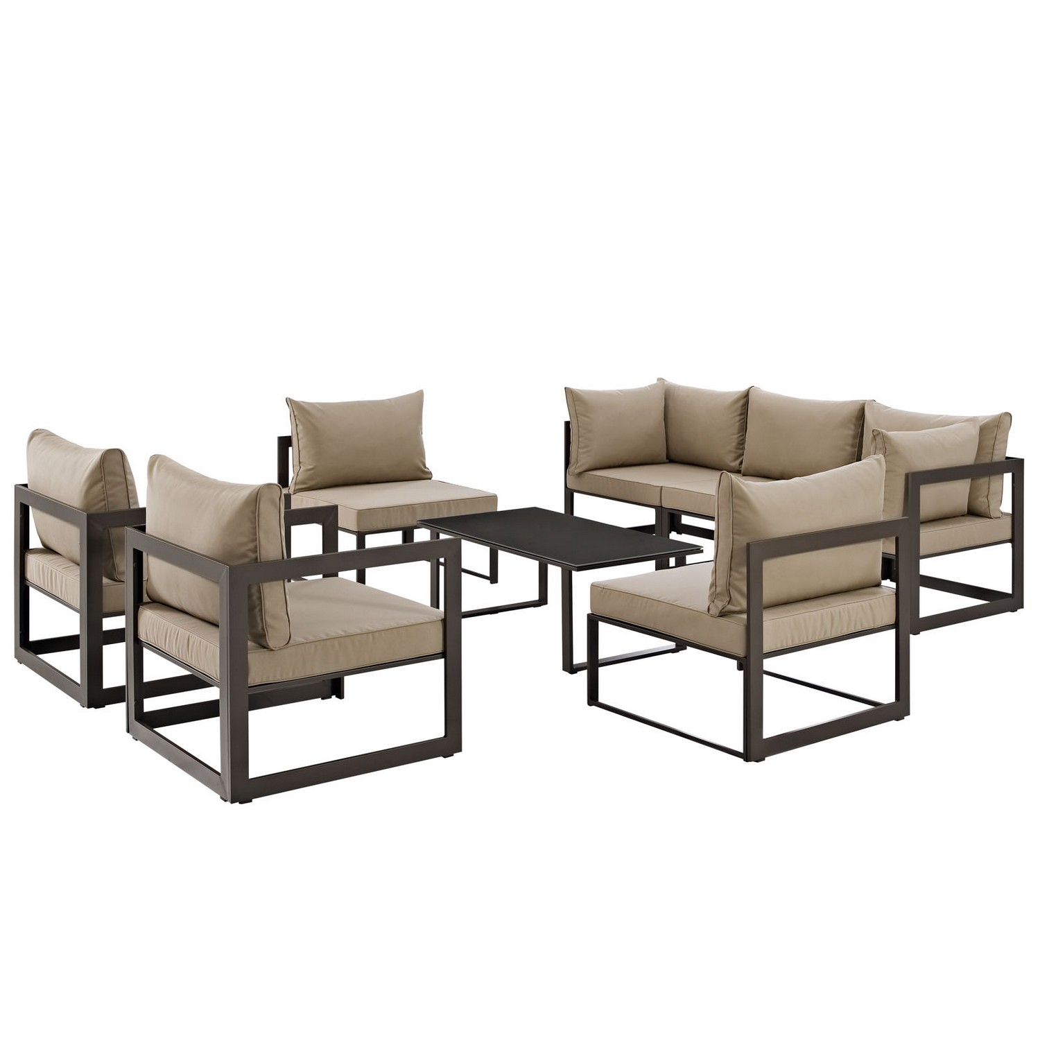 Modway Fortuna 8 Piece Outdoor Patio Sectional Sofa Set - Brown