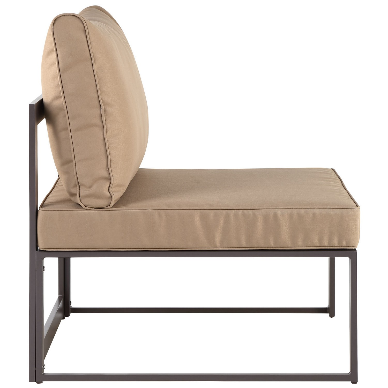Modway Fortuna 6 Piece Outdoor Patio Sectional Sofa Set - Brown/Mocha