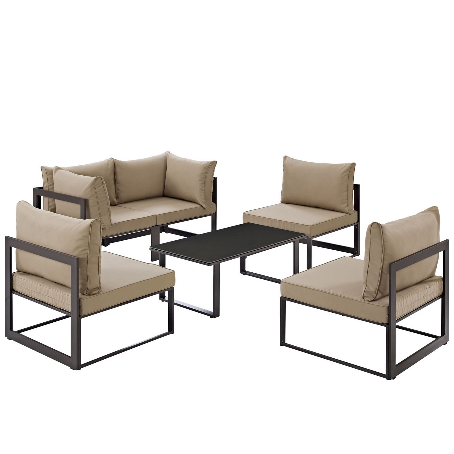 Modway Fortuna 6 Piece Outdoor Patio Sectional Sofa Set - Brown/Mocha