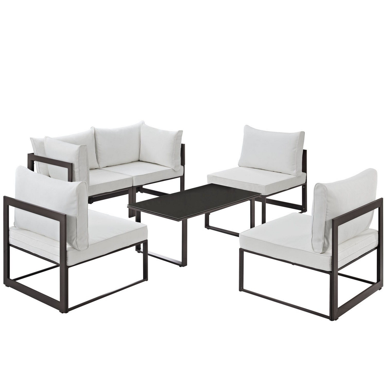 Modway Fortuna 6 Piece Outdoor Patio Sectional Sofa Set - Brown/White