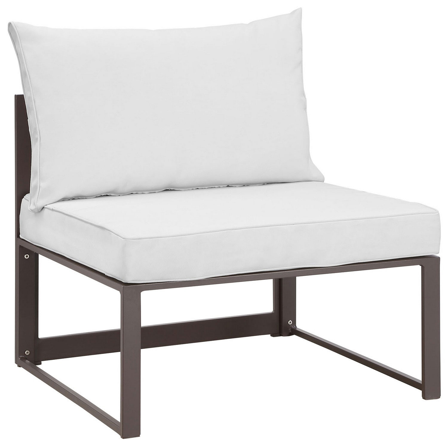 Modway Fortuna 7 Piece Outdoor Patio Sectional Sofa Set - Brown/White