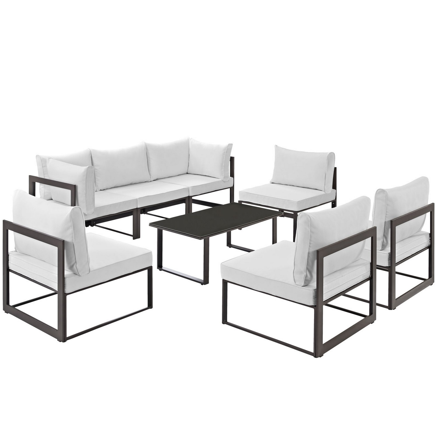 Modway Fortuna 8 Piece Outdoor Patio Sectional Sofa Set - Brown/White